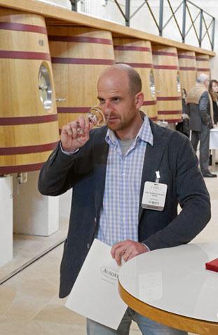 Axel Buess bei der Verkostung von Bordeaux 2015 in Chateau Ausone